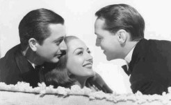 With Robert Young, left, and husband Franchot Tone.