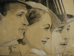 A 1932 drawing of Franchot Tone, Joan, and Gable. By Beaton.