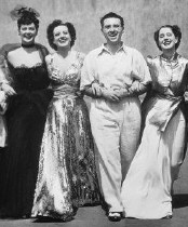 On the set of 'The Women.' From left, Rosalind Russell, Joan, Cukor, Norma Shearer.