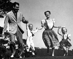 A wartime family frolic: Joan with husband Phillip Terry, son Christopher, daughter Christina.