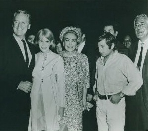 1968, on the set of 'Rosemary's Baby.' From left: Van Johnson, Mia Farrow, Joan, Roman Polanski, film producer William Castle.