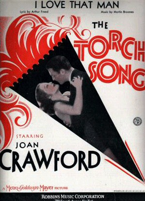 'Laughing Sinners' sheet music with an earlier title for the film, 'The Torch Song.'