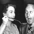 On the 'Mildred Pierce' set with Jack Benny.
