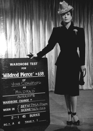 1944. Wardrobe test for 'Mildred Pierce.'