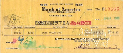 An  April 8, 1936, paycheck for Joan from MGM. Thanks, Rick!