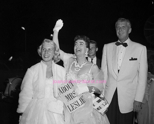 6/30/54. With Christina and Lee Trent at premier of 'About Mrs. Leslie.'
