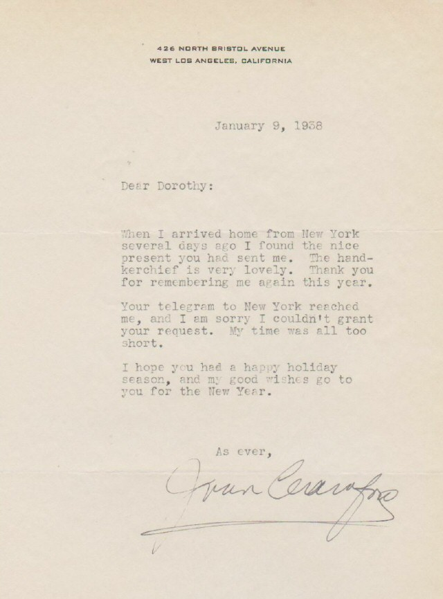 Joan Crawford Letters 1930s