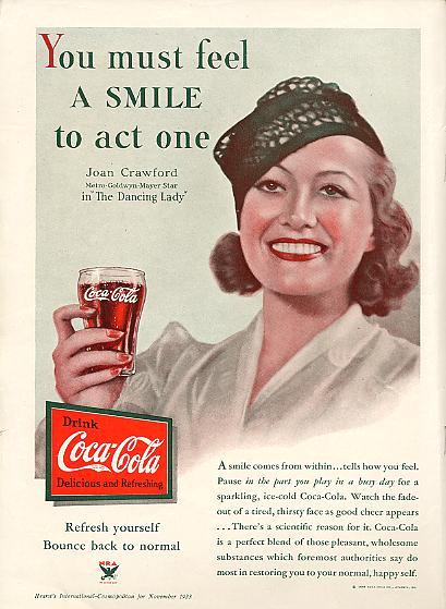 Joan Crawford 1933 Coca Cola Ad