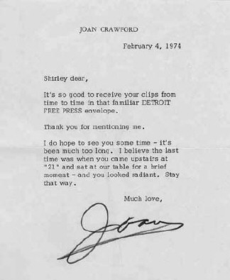 Joan Crawford Letters 1974