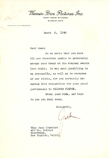 Celebrity letters to joan crawford oscar congrats from jack warner thecheapjerseys Images